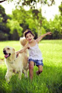 menina com um cachorro golden retriever